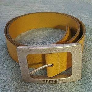 Esprit mustard shade real leather buckle belt
